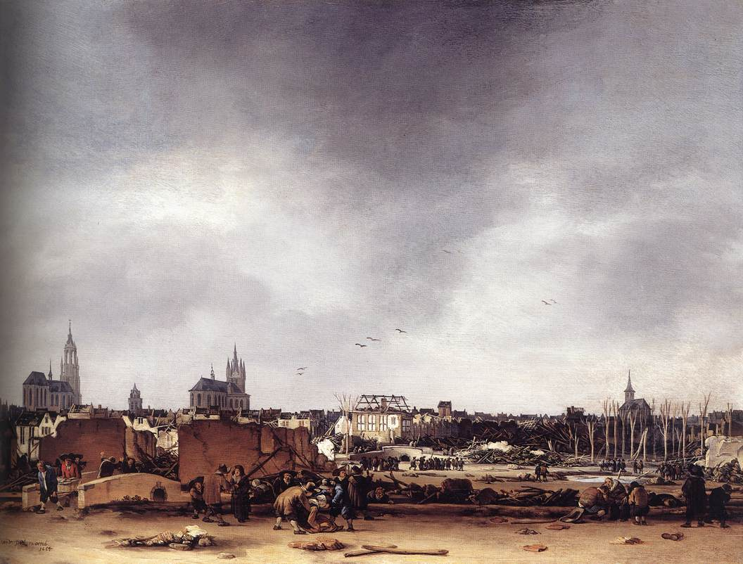 View of Delft after the Explosion of 1654 by POEL, Egbert van der