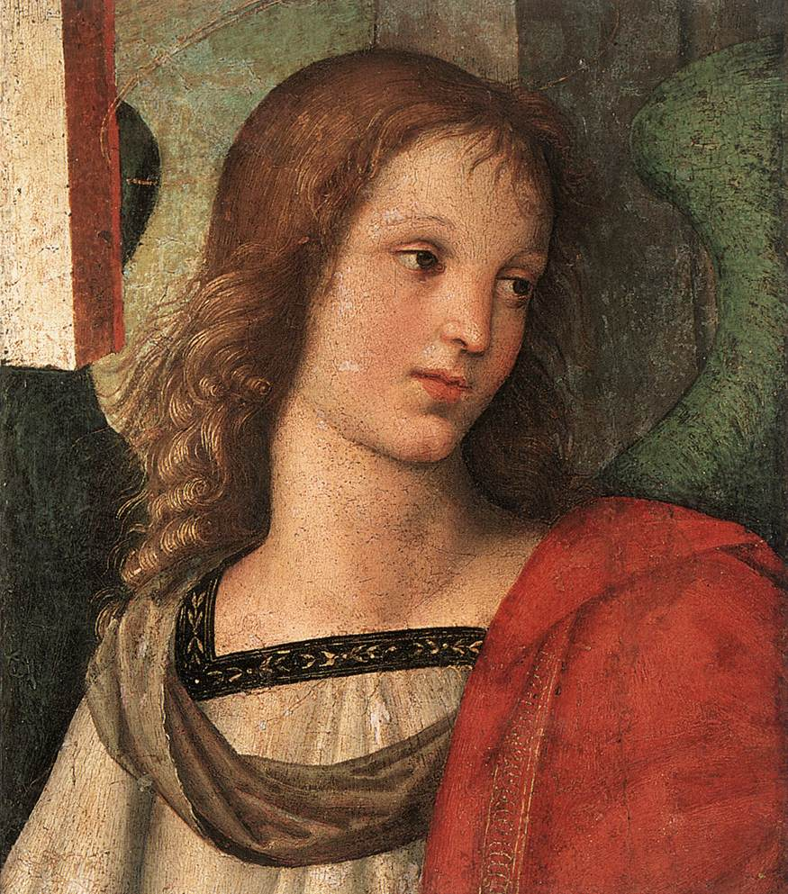 RAFFAELLO Sanzio Angel (fragment of the Baronci Altarpiece), 1500-01