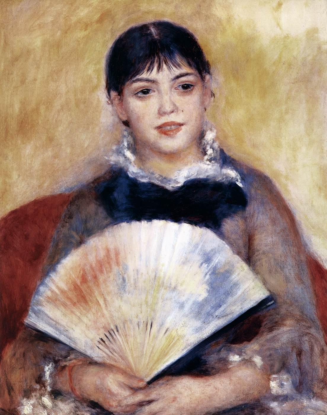 Girl with a Fan by RENOIR, Pierre-Auguste