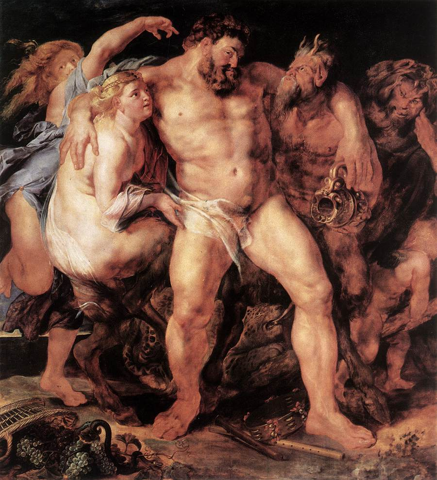Hercules Drunk, Being Led Away By a Nymph and a Satyr. Posted by Olly Onions
