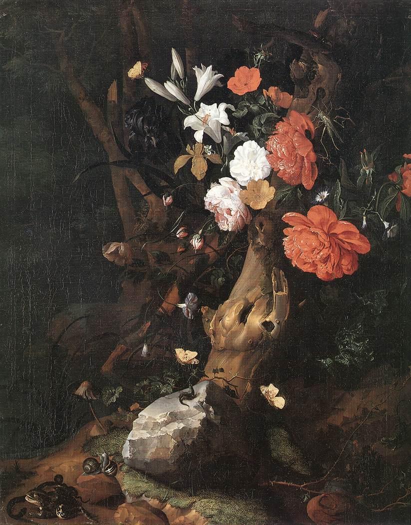 Flowers on a tree trunk by ruysch rachel - Flowers that grow on tree trunks ...