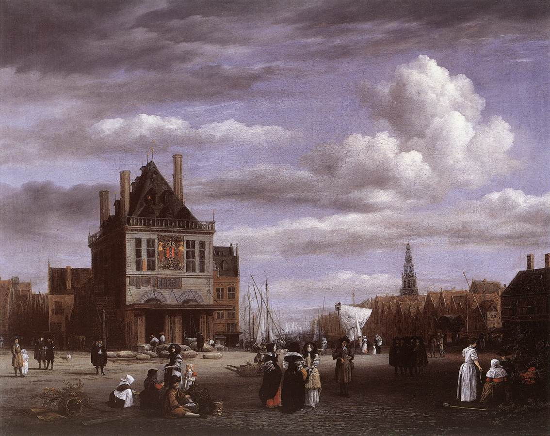 The dam square in amsterdam by ruisdael jacob isaackszon van for Dam in amsterdam