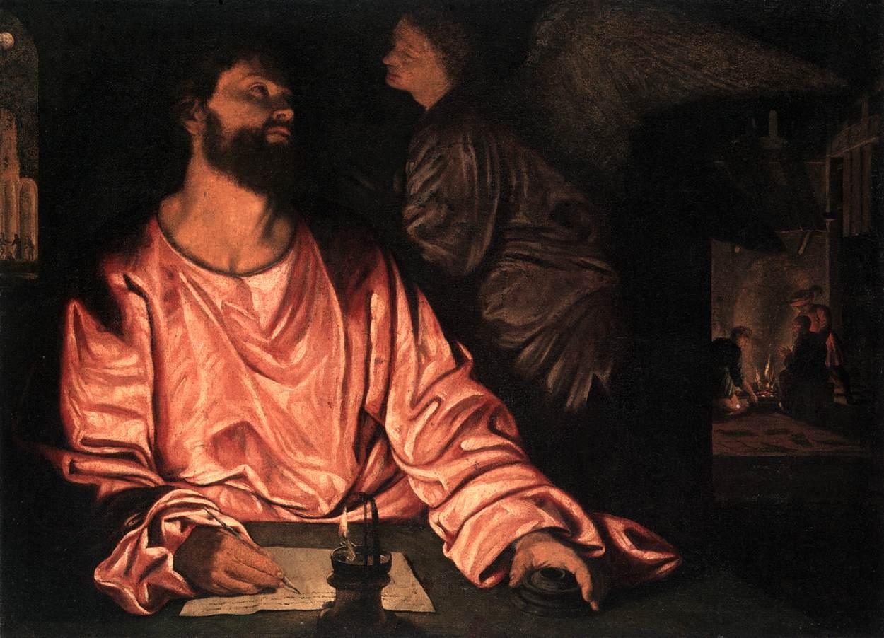 St Matthew and the Angel by SAVOLDO, Giovanni Girolamo