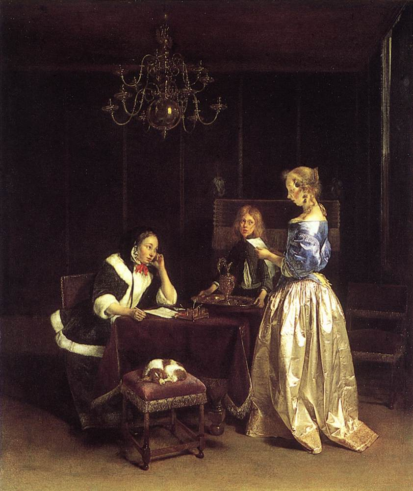 Ter Borch frequently represented elegantly dressed men and women writing or ...