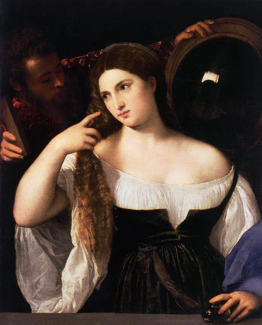 La jeune fille au miroir de titien la clioth que for Fille au miroir