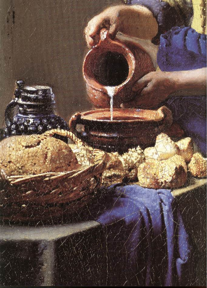 the letter d the milkmaid detail by vermeer johannes 1658