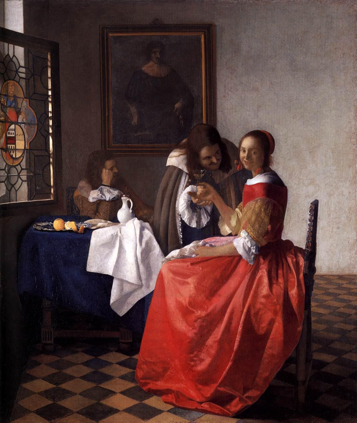 'Una joven y dos caballeros'(1660) de Johannes Vermeer