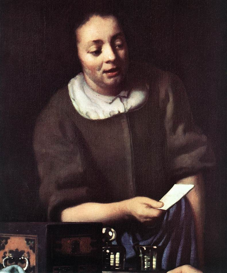 VERMEER VAN DELFT, Jan Lady with Her Maidservant Holding a Letter (detail) c1667