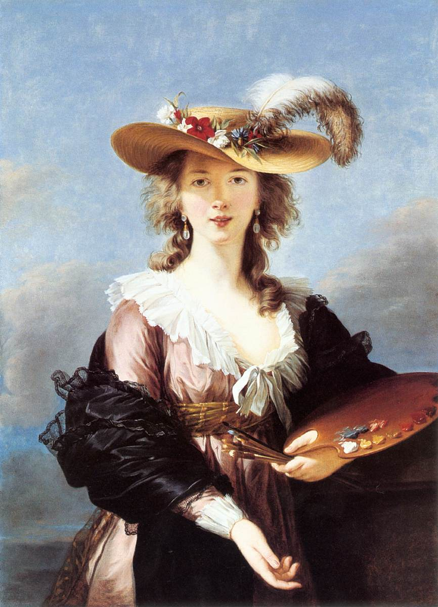 self portrait in a straw hat after 1782 oil on canvas