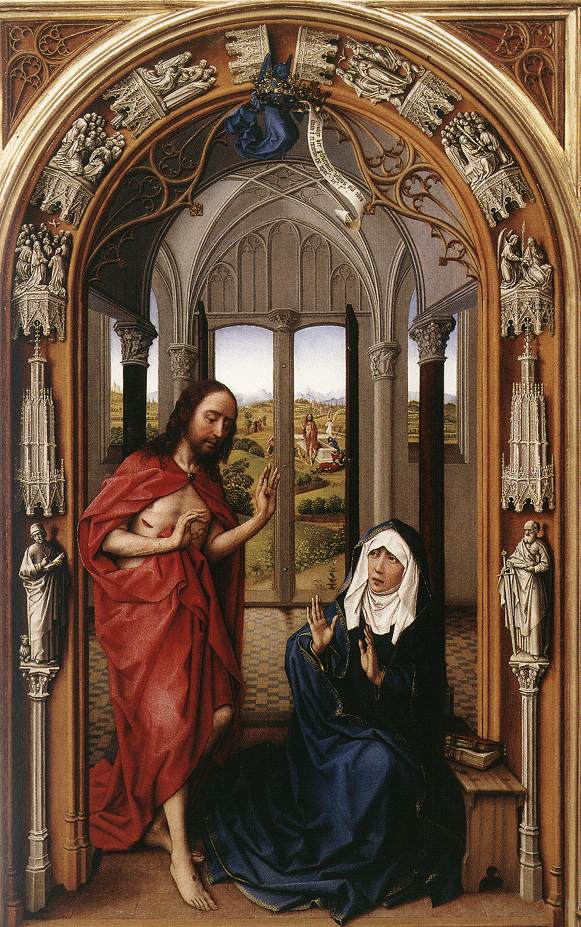 Christ appearing to the Virgin, from the Miraflores Altarpiece, Rogier van der Weyden, c.1442-1445