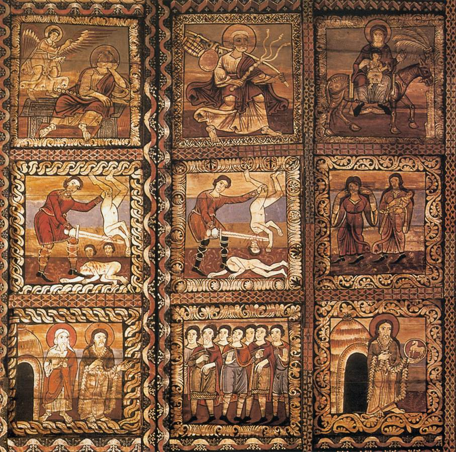 Romanesque mural paintings first half of the 12th century for Mural art on wood