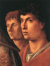 Presumed portraits of Andrea Mantegna (left) and Giovanni Bellini (right) by Giovanni Bellini