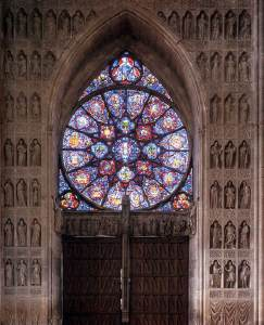 The Picture Shows Rose Window From Central Doorway Of West Portal Cathedral Notre Dame Reims Stained Glass Windows In
