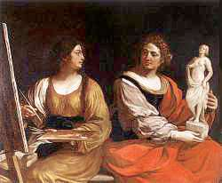 Allegory of Painting and Sculpture (1637) by Guercino